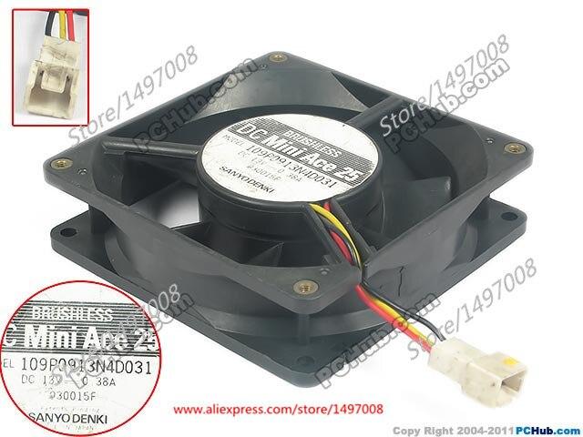 SANYO 109P0913N4D031 DC 13V 0.38A  90mm 90X90X25mm Server Square  fan