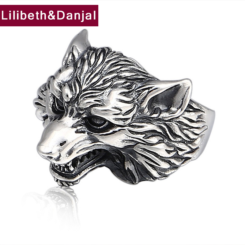 Adjustable Ring 100% Real 925 Sterling Silver Jewelry men women Vintage Animal Wolf head  Fashion Opening Ring 2018 Brand R5Adjustable Ring 100% Real 925 Sterling Silver Jewelry men women Vintage Animal Wolf head  Fashion Opening Ring 2018 Brand R5