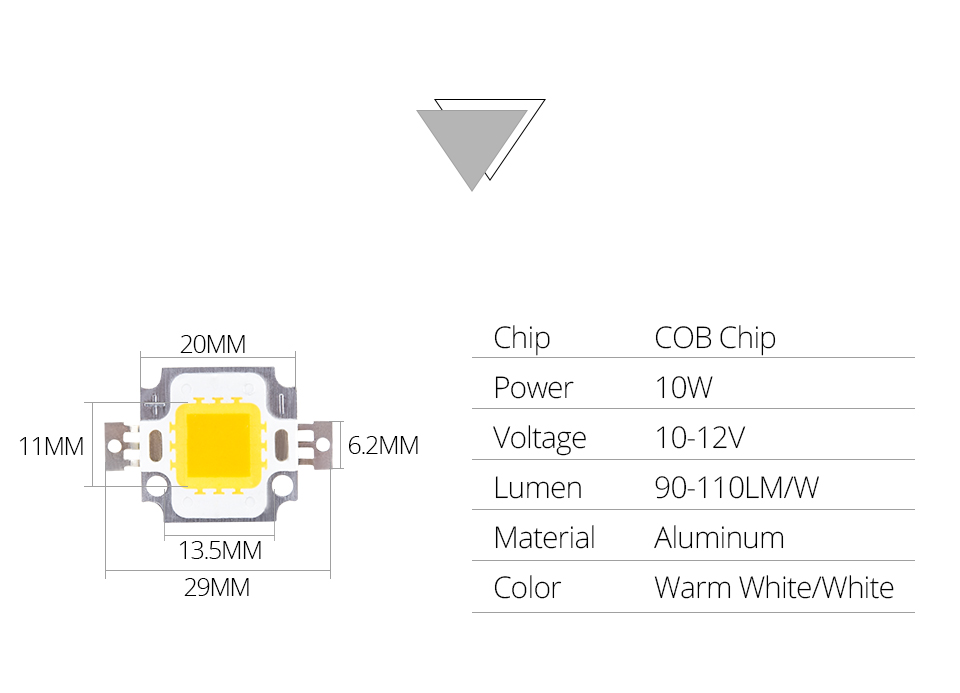 LED Chip 12V 10W 30V-36V 20W 30W 50W 100W Integrated COB LED Beads DIY Floodlight (2)
