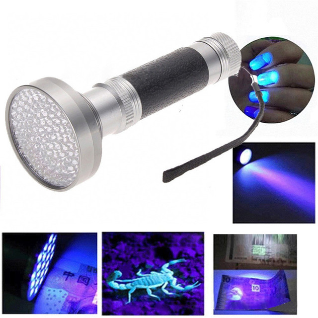 Super 100 LED UV Blacklight Scorpion Flashlight Super Bright Detection Light Outdoor 170126