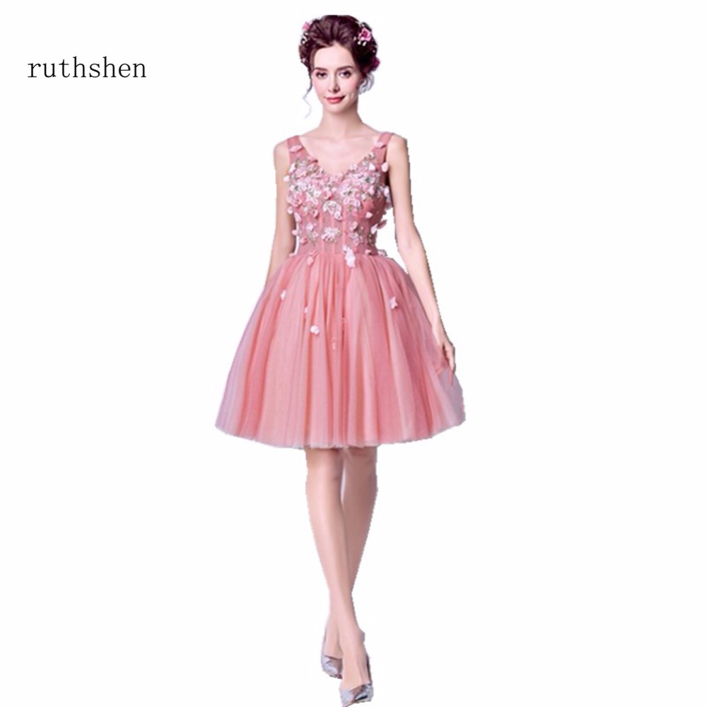 ruthshen Luxury Charming Short Knee Length   Cocktail     Dresses   Appliques Flowers Sexy V Neck Party   Dresses   Vestidos Coctel 2018