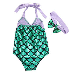017 Character Dream Merman Kids Girl One-piece Suits Big Scales Swimwear Bikini Set Swimsuit Bathing suit Summer Surprise 2PCS 4