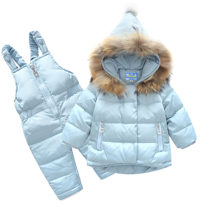 2018 New Boys Skid Brand Winter Children Clothing Set For Girls Jacket Coat Overalls Warm Down Snow Suit Baby Kids Clothes 2017 children wool fur coat winter warm natural 100% wool long stlye solid suit collar clothing for boys girls full jacket t021