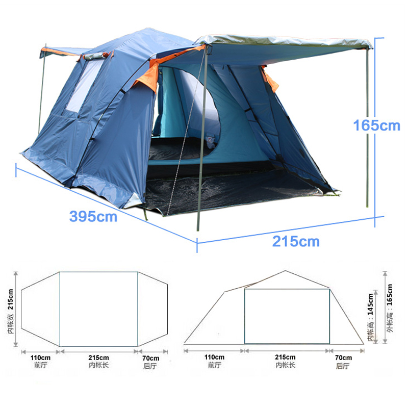 Camping four-door 3-4 person ultralight tent for trekking camping Equipment Alpinism waterproof beach tent double layer outdoor camping hiking automatic camping tent 4person double layer family tent sun shelter gazebo beach tent awning tourist tent