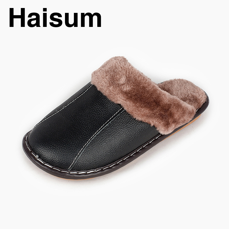 Men 's Slippers Winter Genuine Leather Home Indoor Non - Slip Thermal Slippers 2018 New Hot Haisum N-266 dorothy s home