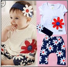 Baby girls summer clothes 3 pieces per set Hair band flowers short sleeved clothing sets