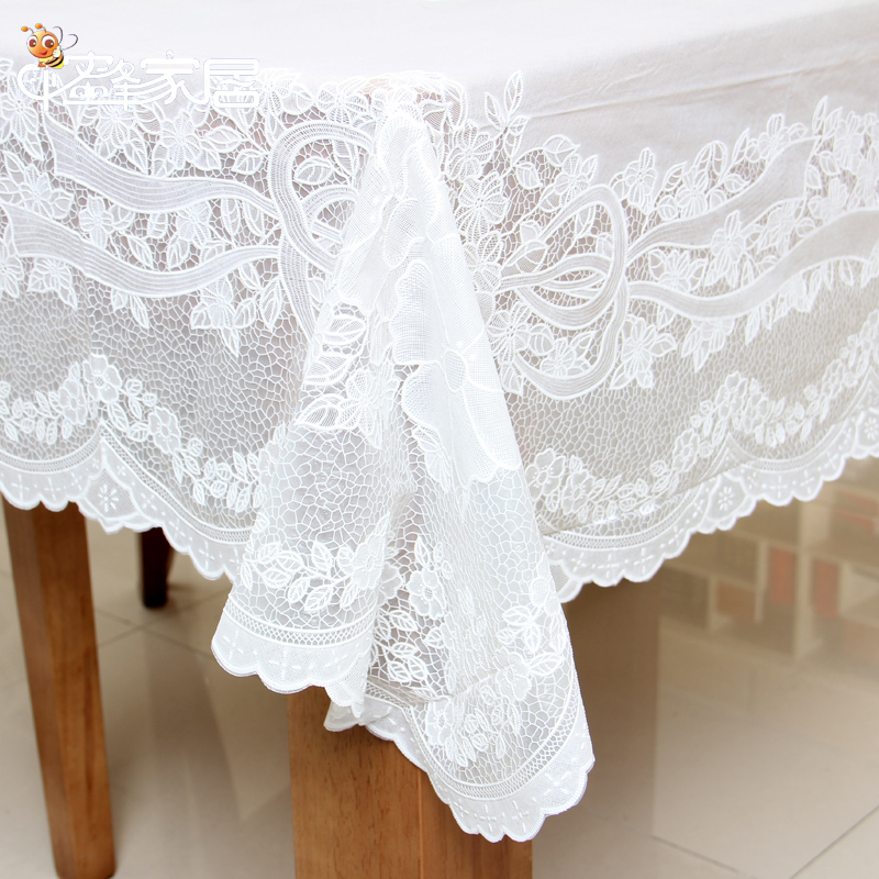 Good ... White Lace Tablecloth PVC Tablecloth ...
