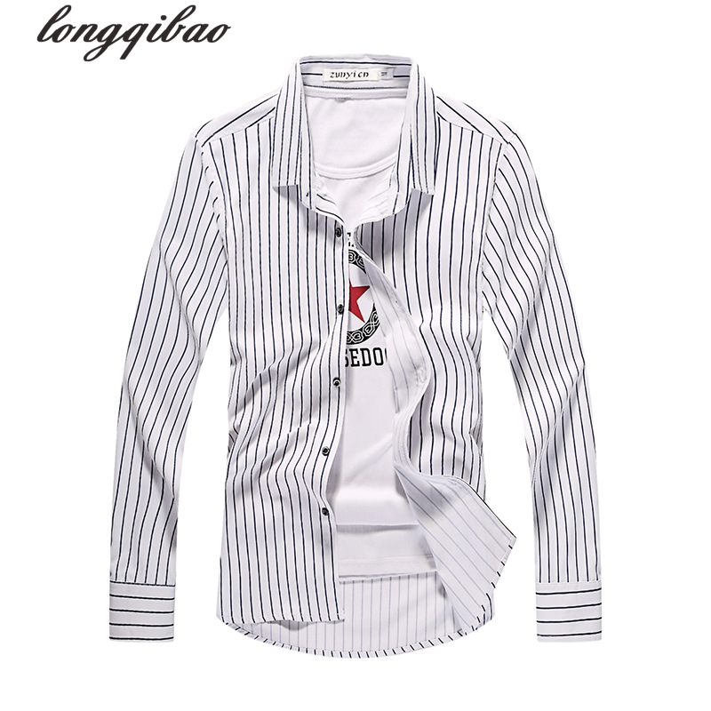 Spring men's new fashion stripes trend leisure lattice long sleeves Slim shirt (multi-color optional)TB722 4