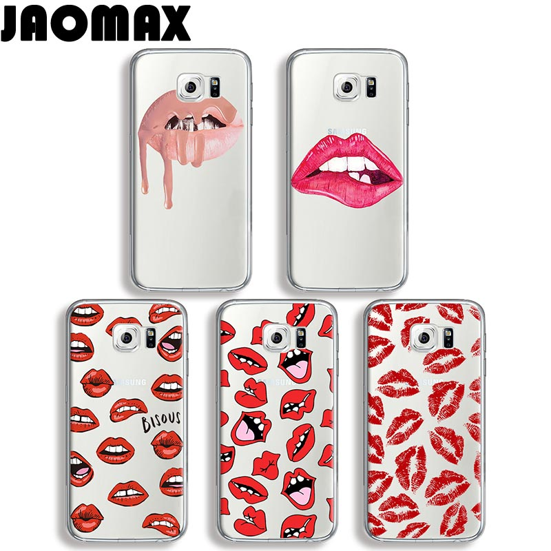Jaomax Sexy Girly Red Pink Lip Kiss Case For Samsung Galaxy J7 A3 A5 Note 8 3 4 5 J3 J5 Transparent Silicone Back Phone Cover