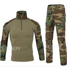 Camouflage Tactical Military Uniform Combat Men's T Shirt Set Camo Hunt Outdoor Army Combat Shirt + Cargo Pants ESDY Brand