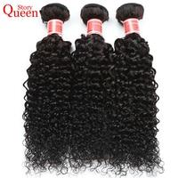 Queen Story Hair Brazilian Kinky Curly Weave Human Hair Bundles Natural Color 1 Bundle 10 28