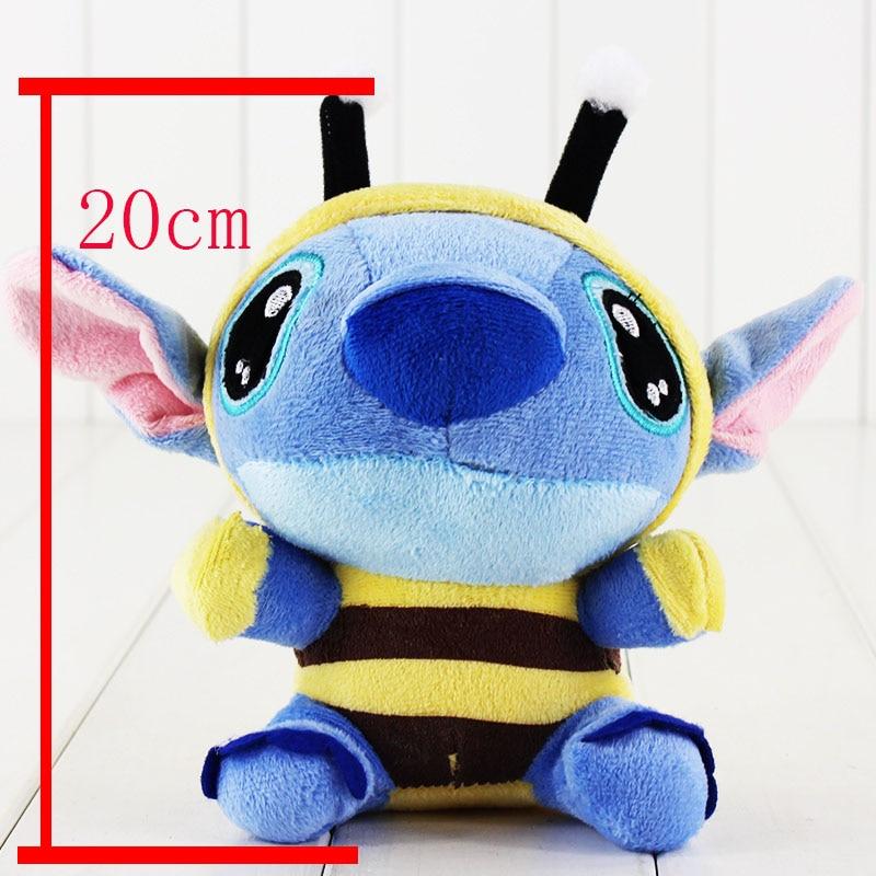 1pcs 20cm Kawaii Lilo and Stitch Cosplay Bee plush Toy Keychain keyring free shipping