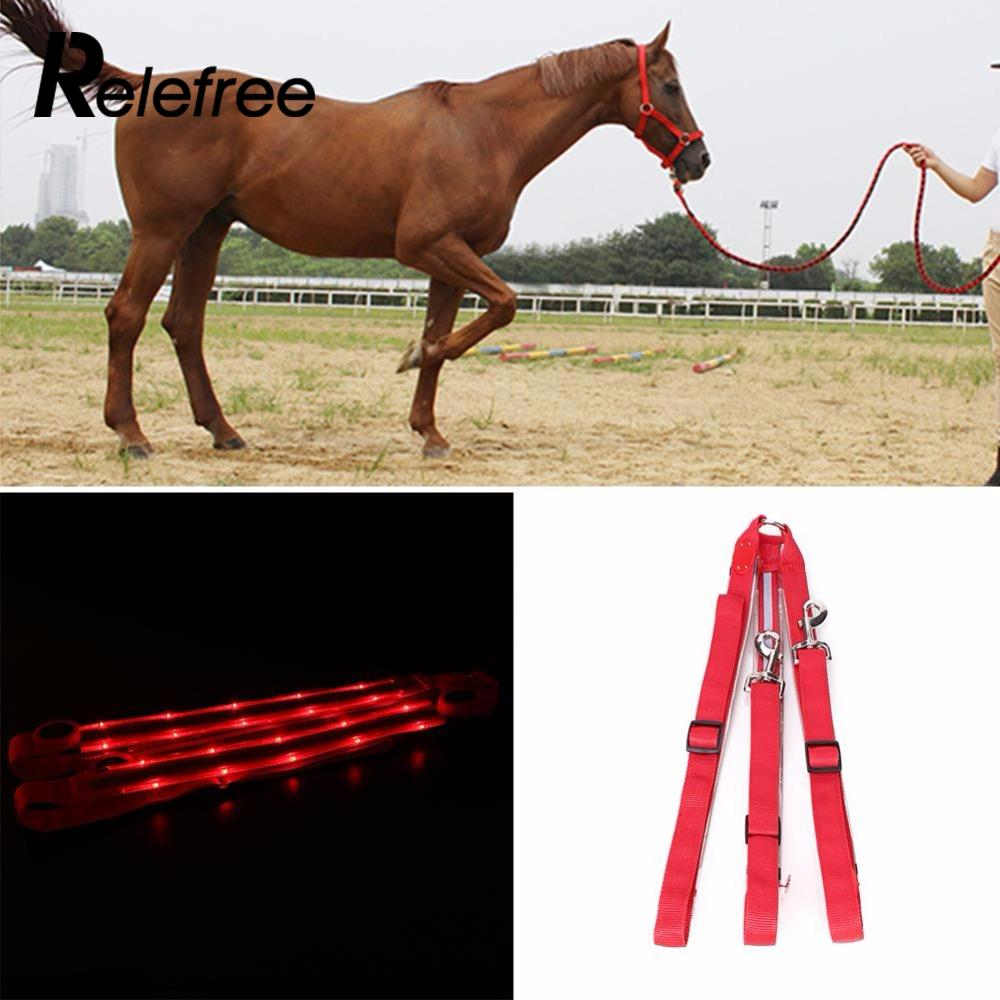 Outdoor LED Horse Collar Breastplate Red Light Battery Operated Racing Strip Adjustable Halter Body Protectors