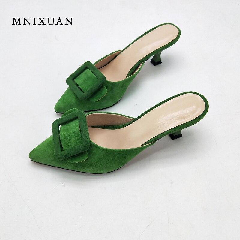 MNIXUAN sexy mules chaussures femmes 2018 nouvelle mode bout pointu peu profonde dames pantoufle sandales mince talons 5 cm hauteur vert taille 42