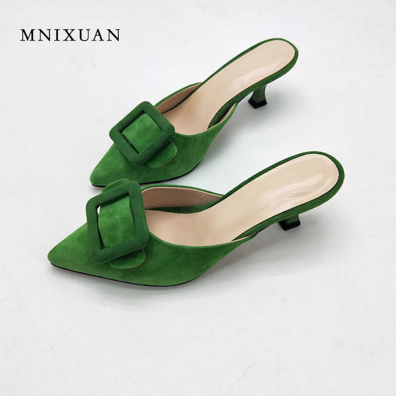 MNIXUAN sexy mules shoes women 2018 new fashion pointed toe shallow ladies slipper sandals thin heels 5cm height green size 42 mnixuan  women slipper sandals genuine