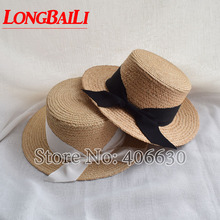 Summer Fashion Flat Top Raffia Straw Sun Hat For Women Casual Beach Caps Free Shipping SWDS034