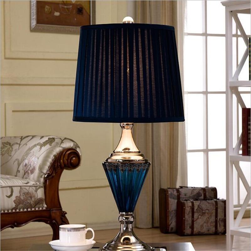 Vintage Middellandse Zee diepblauw kristalglas stof Led E27 tafellamp - Binnenverlichting
