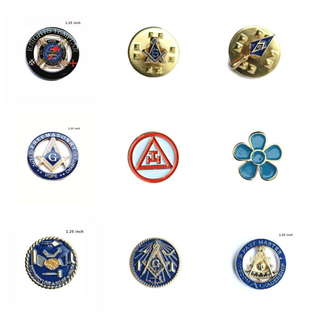 Masonic lapel pins Glöm mig inte Flower Square & Compass Inom Circle Broderlig Kärlek Relief Freemasonry Knights Templar pin