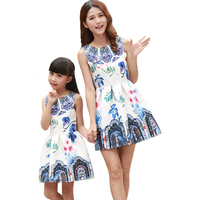 ABGMEDR Brand Family Matching Clothing Mother Daughter Clothes Children Printed Dresses Girl 5 6 7 8