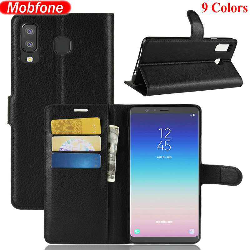 Galleria fotografica For Etui Samsung Galaxy A8 Star Business Wallet Litchi PU Leather Case For Samsung A8 A9 Star Book Flip Cover Stand Coque Fundas
