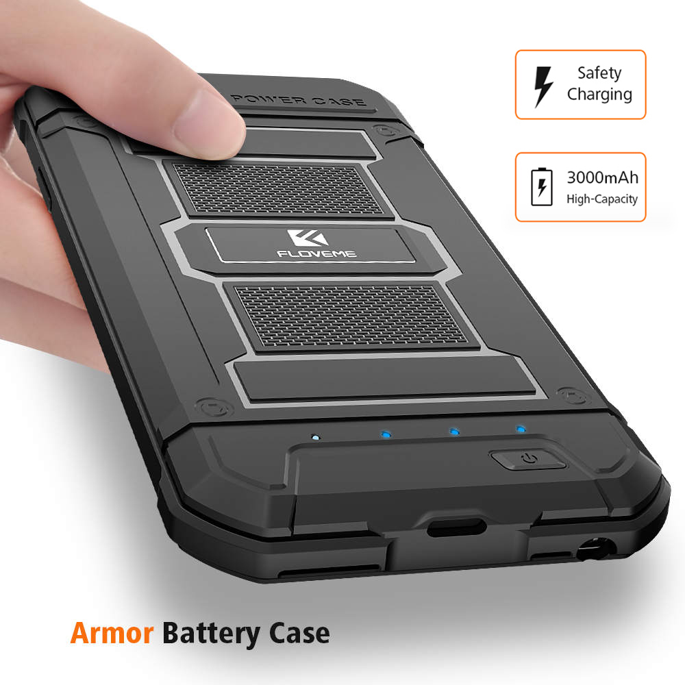 FLOVEME Mobile Phone Battery Charger Case For IPhone 6 6S Plus 7 8 Plus Power Bank Armor Portable External Battery Pack Cases