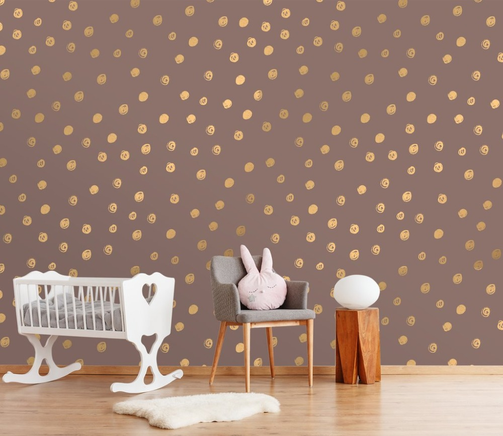 [Self-Adhesive] 3D Gentle Purple Gold Dots Pattern 27 Wall Paper Mural Wall Print Decal Wall Murals