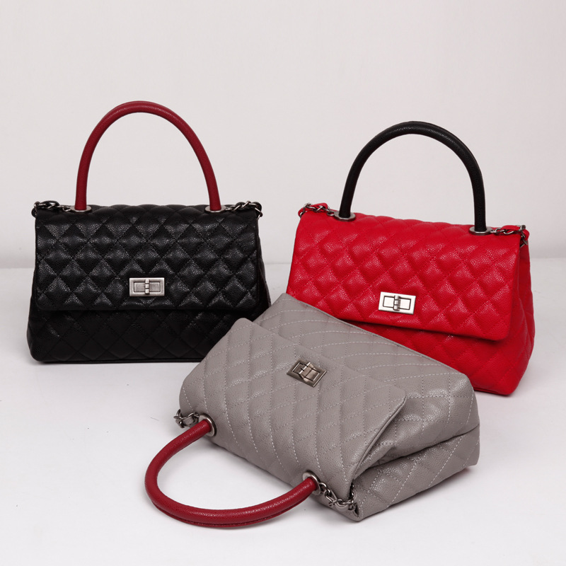 Famous Branded Women Leather Handbag Designer Inspired Classic Flat Top-Handle Bag 2018