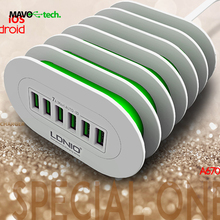 LDNIO 6 USB Multi Ports Charging Station Smart Adaptive 7A Desktop Fast Charger for iphone 7
