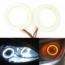 Niscarda 2x White Yellow LED Angle Eyes Halo Rings Drive Switchback Turn Signal Light Car Headlight