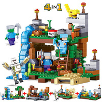 Minecrafted City QL0510 378pcs 4 In 1 Figures Building Blocks Mine World Garden Bricks Blocks Educational