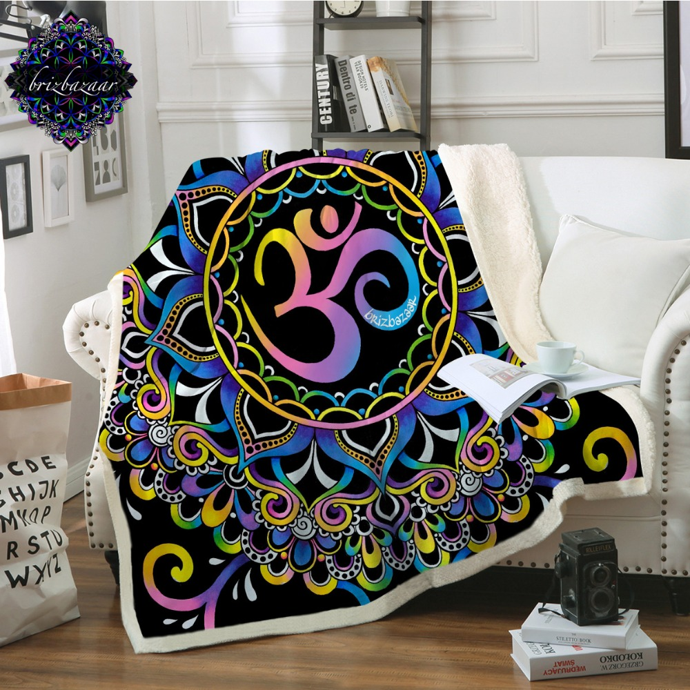 Home Textile Strong-Willed Doodleohm By Brizbazaar Bed Blanket Mandala Flower Sherpa Plush Bedspreads Colorful Pink Purple Blue Throw Blanket For Sofa