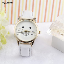 2017 New Women Watch Fashion Neutral Diamond Lovely Cats Face Faux Leather Quartz Watch Female Free Shipping,Dec 9