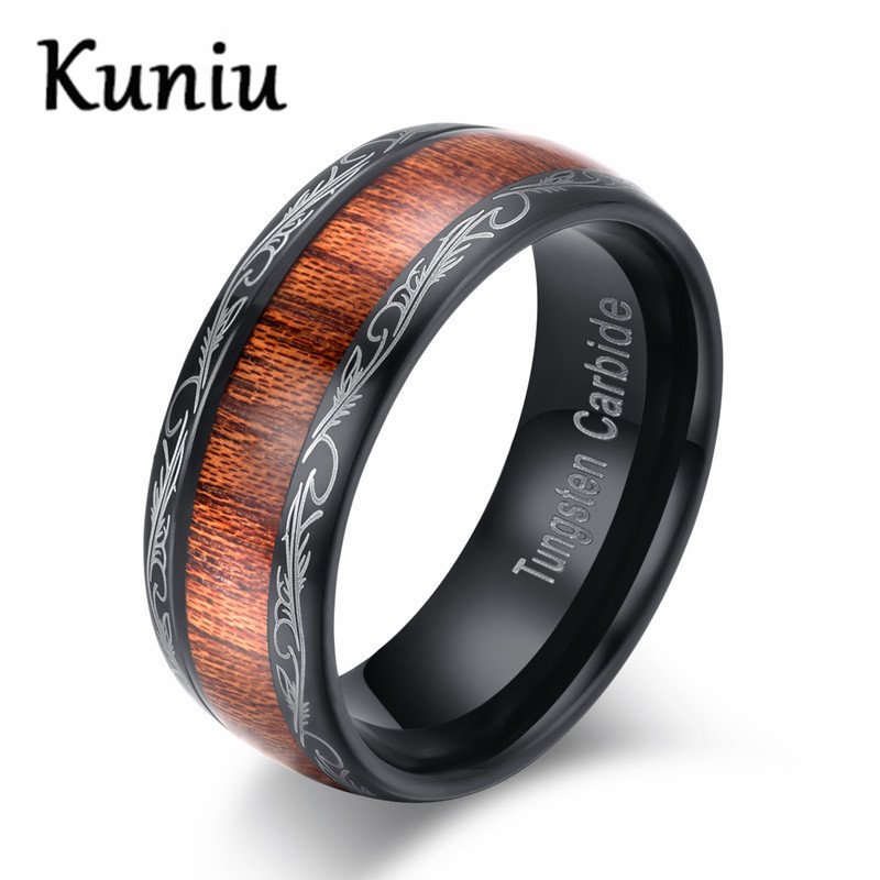 8mm wide Black Tungsten carbide Ring Wood Inlay Dome Wedding Band Ring For men's jewelry Dropshipping black tungsten carbide with dark wood inlay mens wedding ring