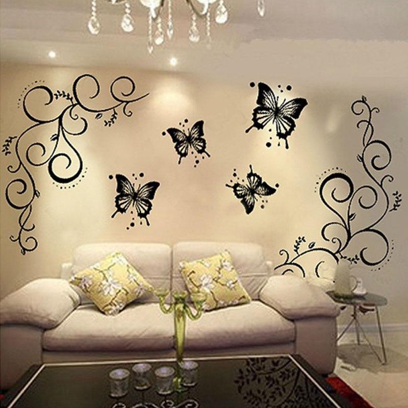 Décor à la maison papillon et vigne bricolage amovible vinyle décalcomanie Art Mural décor à la maison Stickers muraux LS
