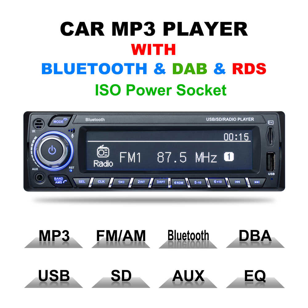 1 Din Car Radio DAB Car MP3 Bluetooth Player RDS Bluetooth hands-free wireless Radio de coche Drop Shipping
