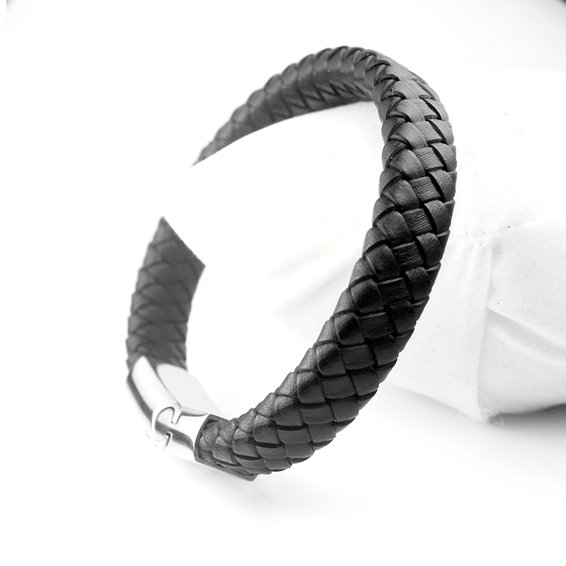 040 Casual Men Female Braided Bracelets Stainless Steel Handmade Genuine Black Brown Leather Bracelets Fashion Jewelry in Charm Bracelets from Jewelry Accessories