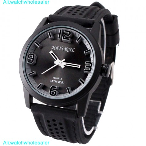 FW848K NATURAL Black Dial Water Resist Silicone Black Band Elegant Fashion Watch