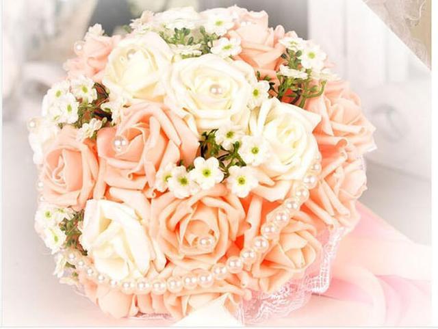 2017 Люкс Для Невесты Свадебный Букет Дешевые Новый Orange и белый Жемчуг Ручной Работы Искусственный Свадебные Цветы Свадебные Букеты