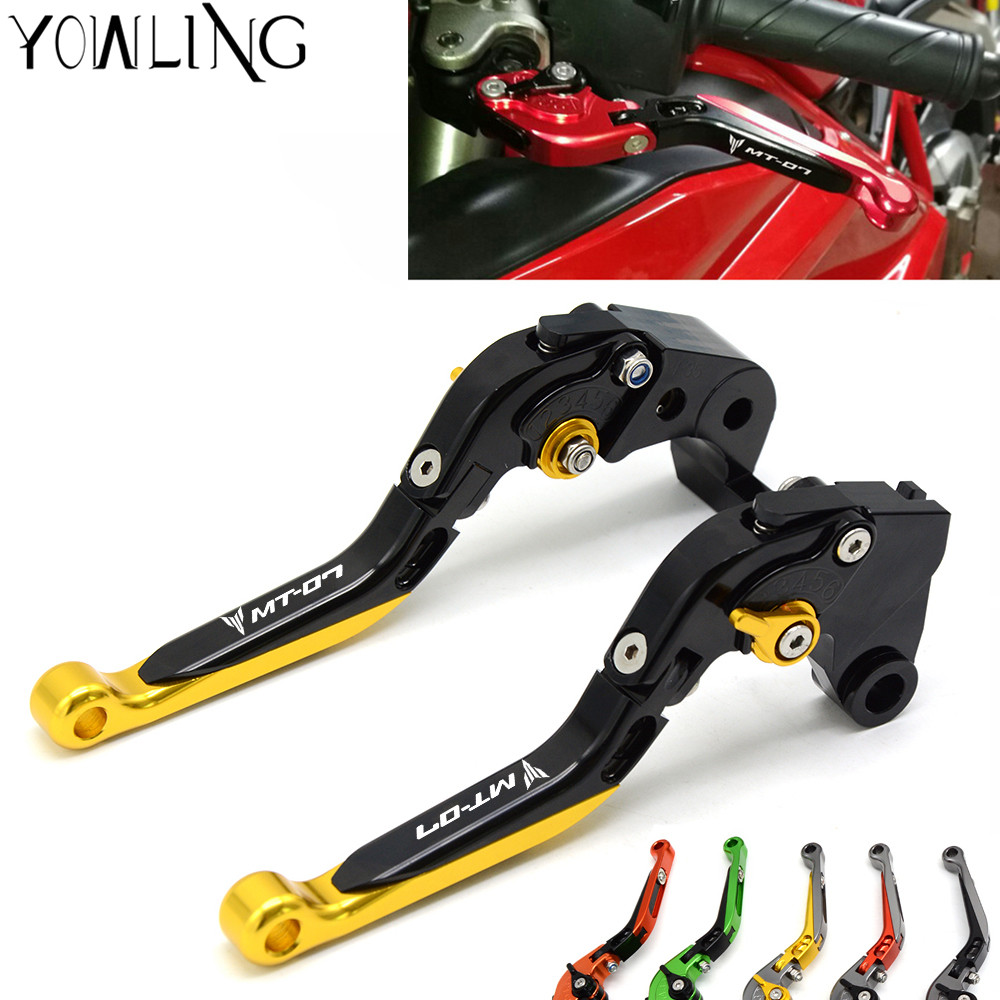 For YAMAHA MT-07 MT 07 MT07 2014-2017 Motorcycle Accessories Adjustable Folding Extendable Brake Clutch Levers LOGO MT-07 Gold 3d motorcycle adjustable folding brake clutch lever for yamaha mt 07 mt07 mt 07 2014 2015 mt 09 mt09 mt 09 2014 2015 fz1 fz1n