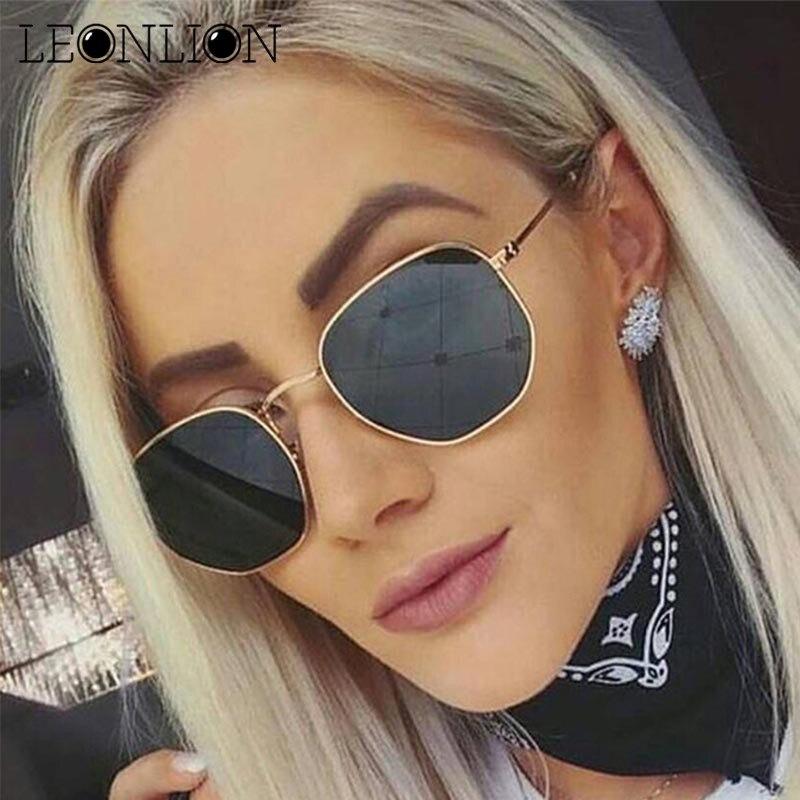 4d6c958f644f2 LeonLion 2019 Poligonal Óculos De Sol Das Mulheres Óculos Lady Luxo Retro  Espelho do Metal Óculos de Sol Do Vintage Oculos de sol Feminino UV400