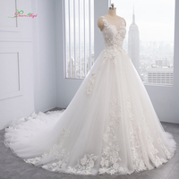 Dream Angel Elegant Flowers Lace Princess Wedding Dress 2018 Appliques Beaded Vintage Bride dresses Vestido De Noiva Plus Size