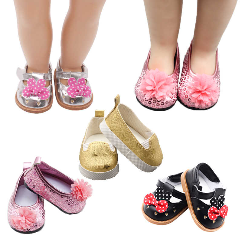 "2019 new Doll shoes for 43 cm new born baby Doll black white Sequin shoes For 18"" Girls Doll shoes sneacker doll Accessories"
