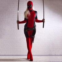 Señora fresca Deadpool Traje Rojo de cuerpo completo spandex chica/mujer/mujer deadpool Deadpool Disfraces Dos estilo del traje al por mayor
