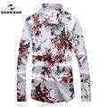 SHANBAO Camisas dos homens Plus Size estilo Chinês impressão Magro de negócios Camisa casual masculino primavera outono longa-camisa de mangas compridas 4XL 5XL