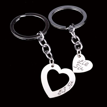 2PC Heart Big Little Sis Sister Key Chains Ring Friendship Friends BFF Keyring Keychain Family Charm Women Girl Gift Wholesale vq30det エキマニ