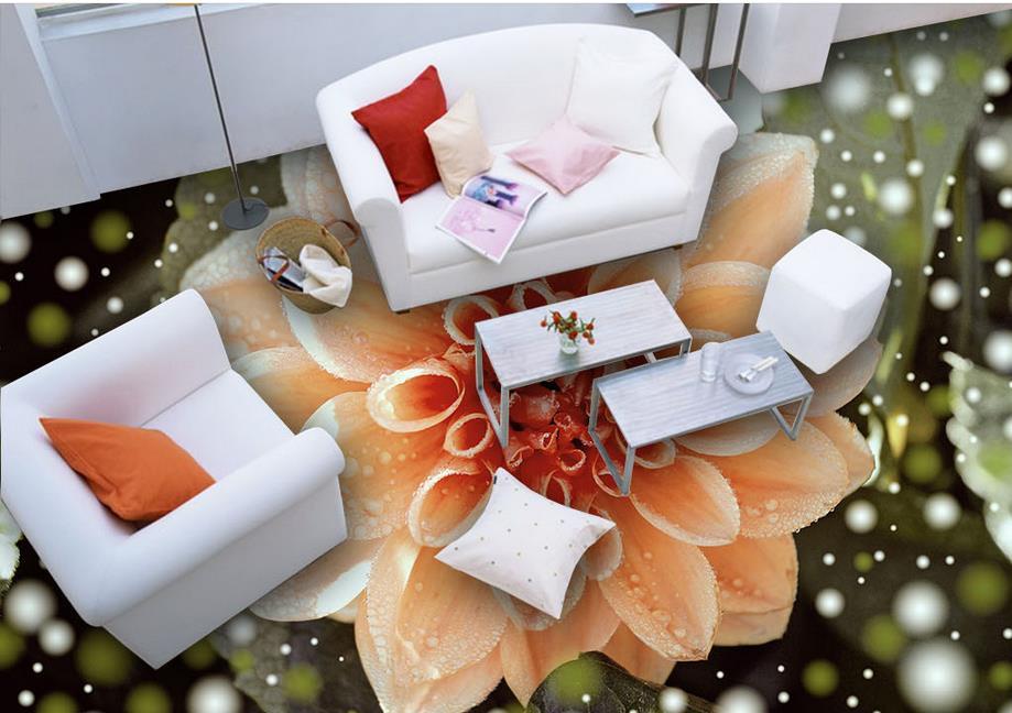 ФОТО 3d floor murals custom adhesive paper roll Flowers 3d floor painting waterproof wallpaper for bathroom