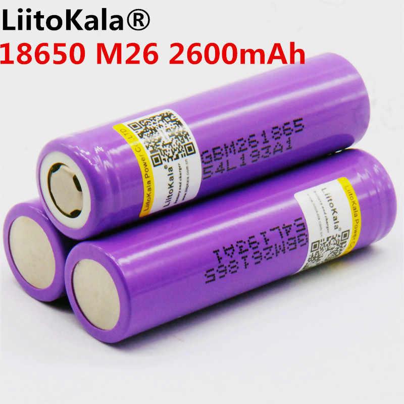 Liitokala 100% оригинал M26 2600 мАч 10A 18650 Li-Ion Перезаряжаемые аккумуляторной батареи 2600 мАч батареи безопасны питания для ecig/scoo