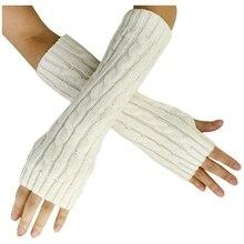 New Fashion Winter Women Men Gloves Unisex Arm Warmer Long Fingerless knit Mitten white