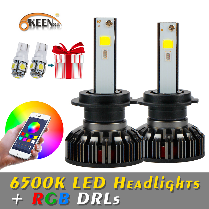 OKEEN 12V RGB Car H4 LED headlight LED Bulbs 72W 4800LM APP Bluetooth Control H1 H3
