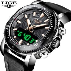 69e6aa4c504 LIGE Mens Relógios Top Marca de relógios Digitais Homens Relógio Do Esporte  Militar Quartz Relógio de